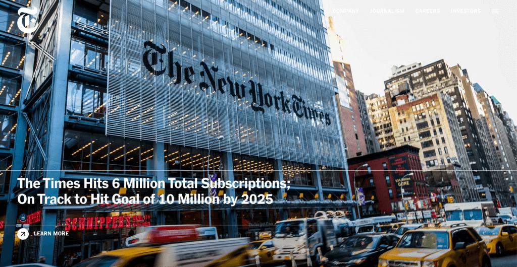 Web del New York Times creada en WordPress
