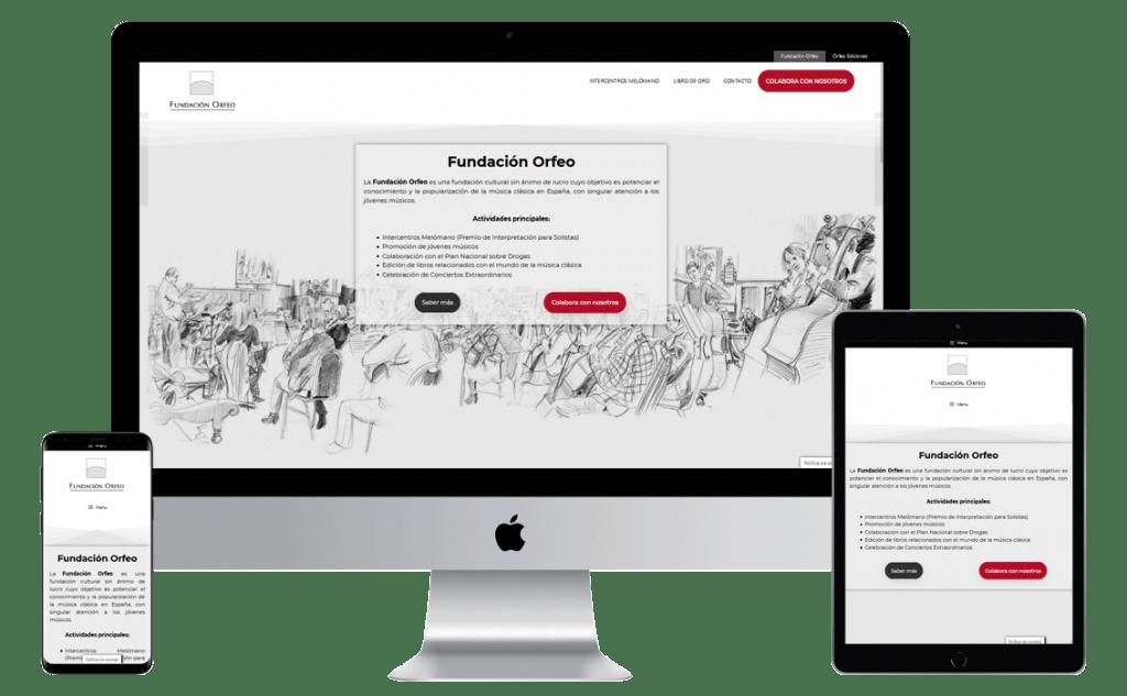 Mockup Fundacion Orfeo Rediseño web