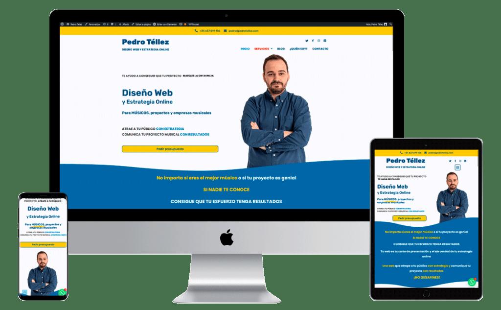 Mockup web Pedro tellez diseño web y estrategia online